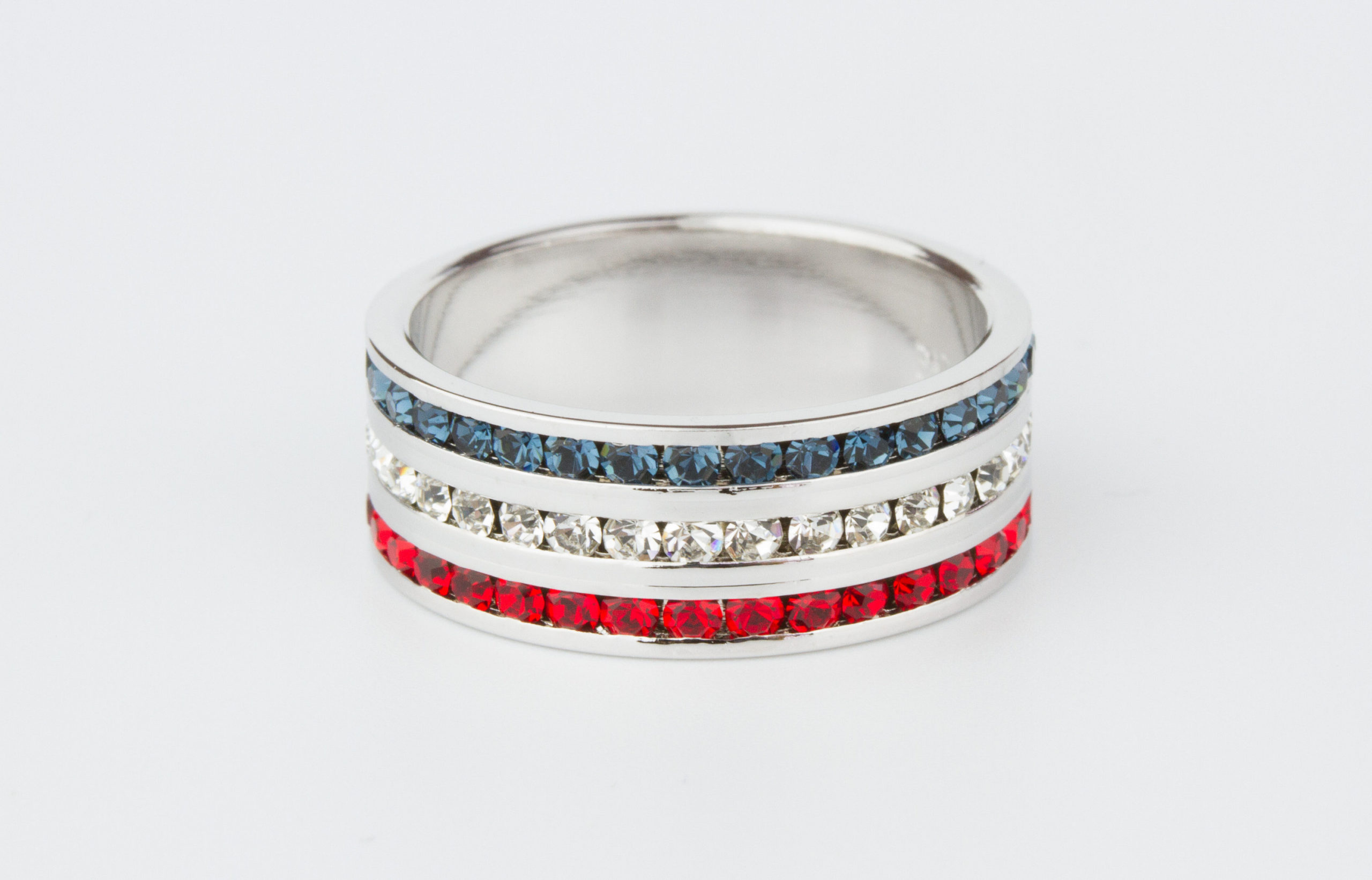 It is a graphic of I Love America! Sterling Silver, Red, White and Blue Swarovski Crystal Eternity Ring - wedding band - engagement ring